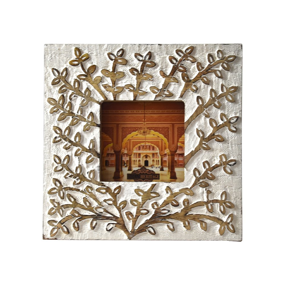 Indian Heritage Wooden Photo Frame 4x4 Mango Wood Carving Design with White Distress Finish