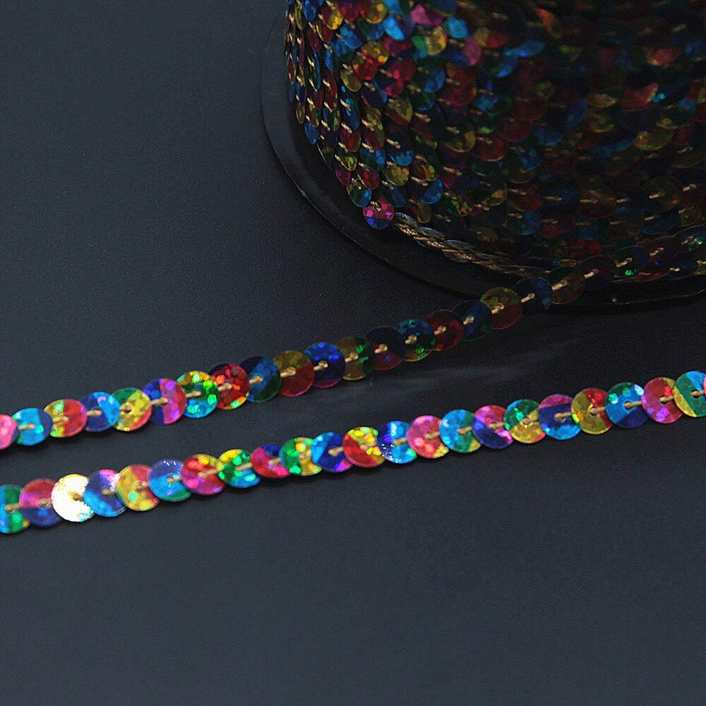 Jienie 6mm Laser Holographic Gradational Color Sequin Ribbon Trim Sewing String Flat Round Sequins Roll for Crafts 100Yards - (Color: Rainbow 1) by Jienie