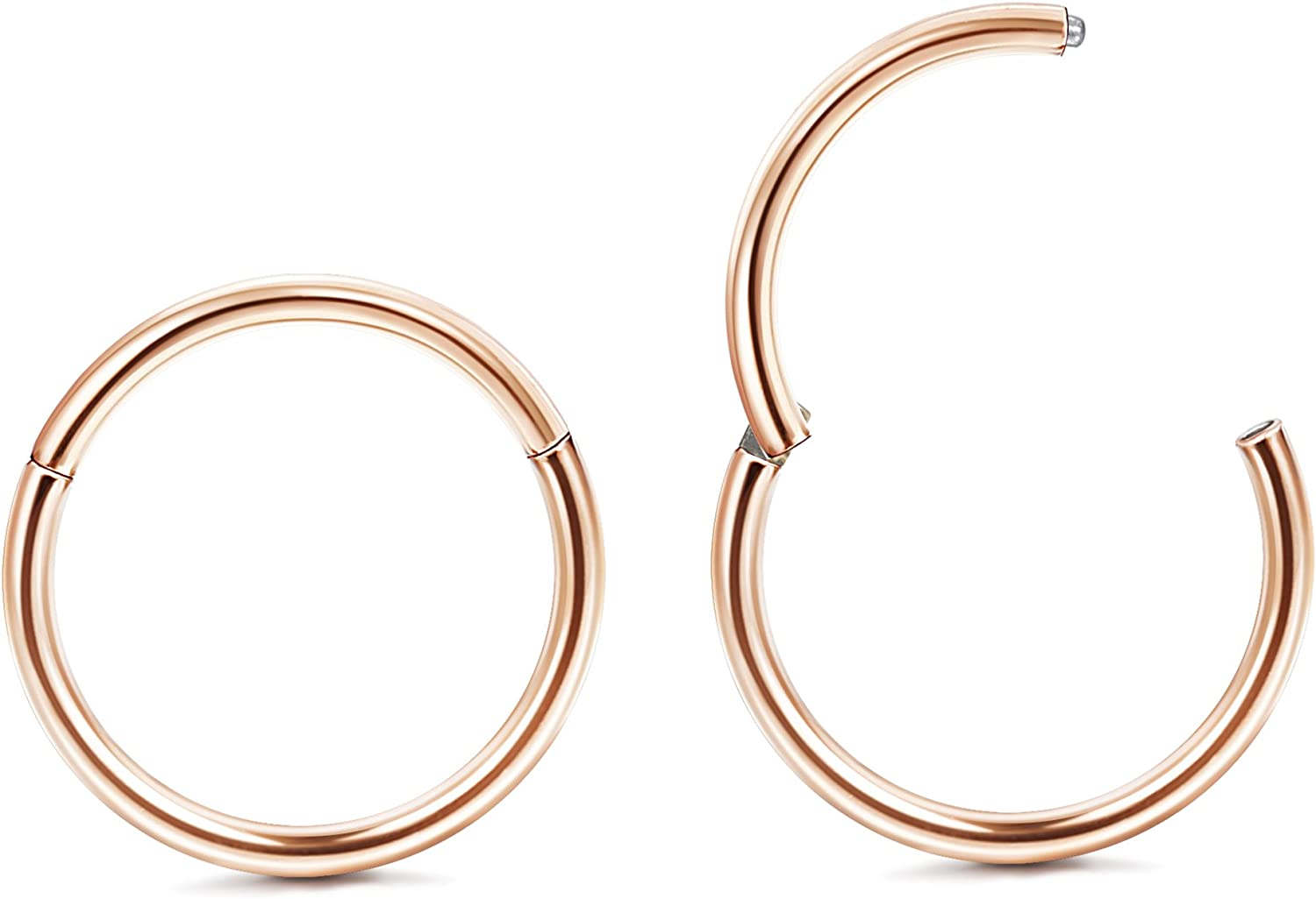 Jstyle 1Pair 20G Stainless Steel Hinged Clicker Segment Nose Ring Hoops Helix Daith Cartilage Tragus Sleeper Earrings Body Piercing