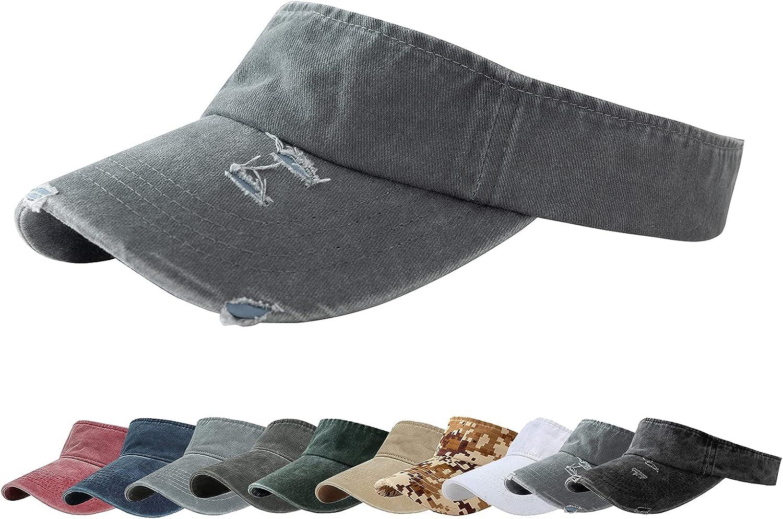 ANDICEQY Sun Visor Hats Adjustable Empty Top Baseball Cap Cotton Visors Sports for Men and Women (Retro Gray) at  Women's Clothing store