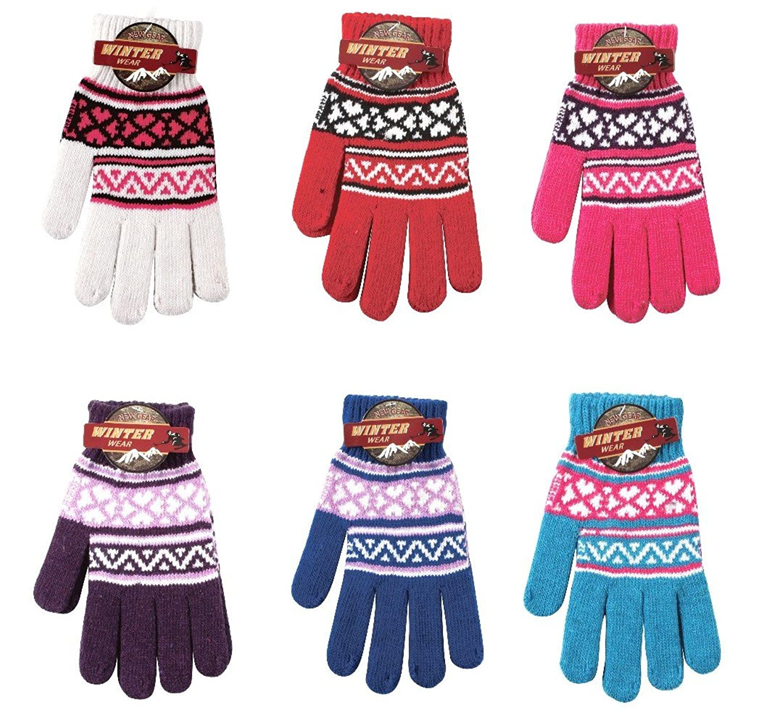 (3 Pair) Ladies Warm Knit Gloves One Size Fits All