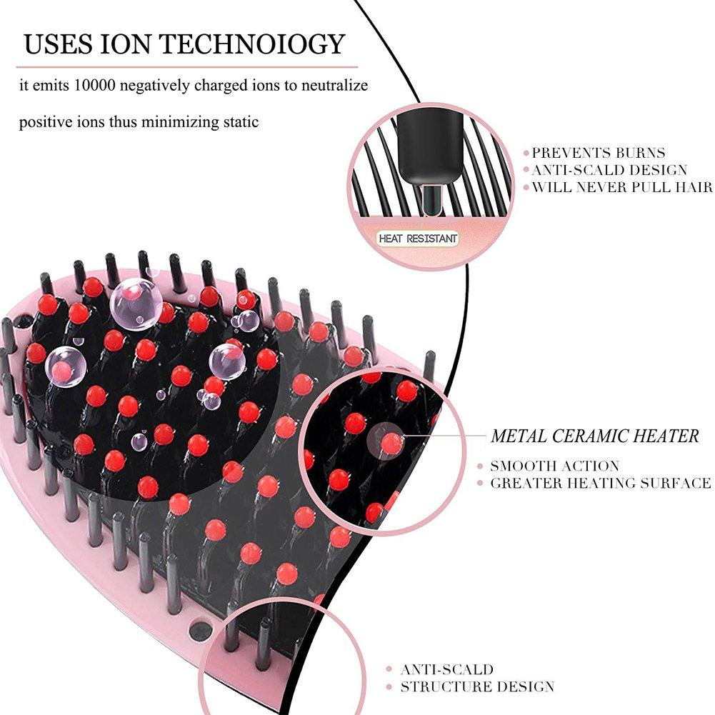 Cepillo Alisador de Pelo Jxz-H erección cepillo de calefacción eléctrica de cerámica Peine desenredante LCD Digital del anión de cuidado del cabello ...