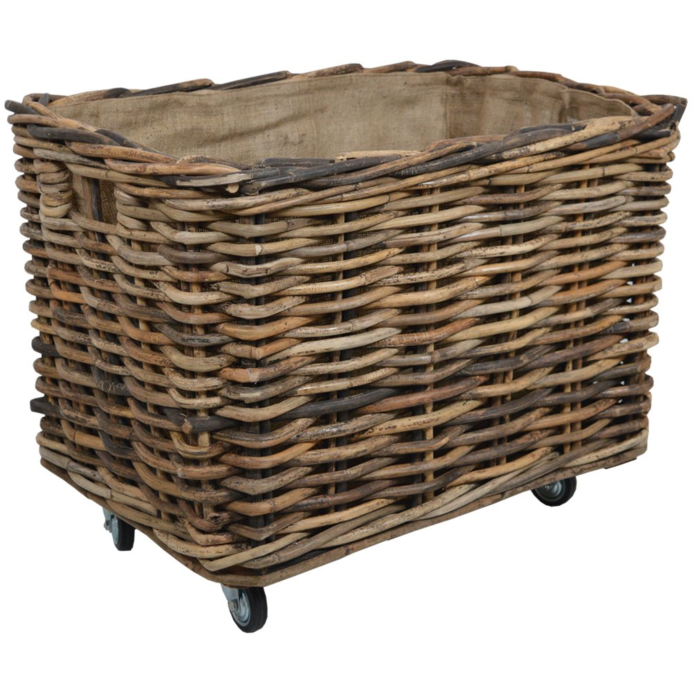 Bamboo Rattan Rectangle Extra Large Storage Log Basket with Wheels W86 x D56 x H61cm/ Toy Box/Wood Bin Wovenhill