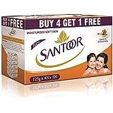 Santoor Sandal and Almond Milk Soap (Buy 4 Get 1 Free 125g each)