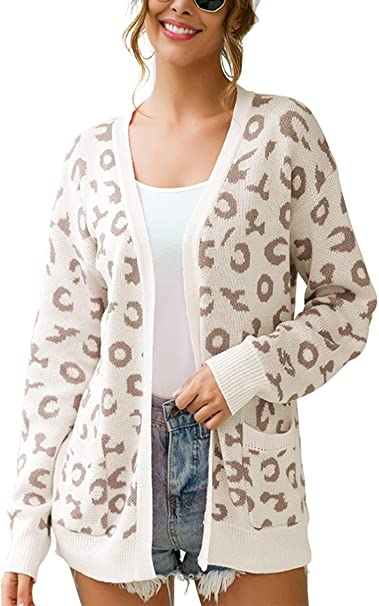 Angashion Oversized Long Sleeve Leopard Print Knit Cardigan Open Front Sweaters for Women with Pockets