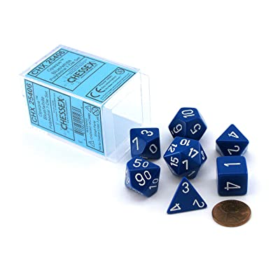 Chessex Dice Polyhedral 7-Die Opaque Dice Set - Blue with White: Toys & Games