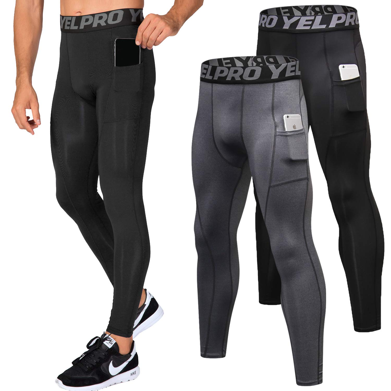 Lavento Men's Compression Pants Baselayer Cool Dry Pocket Running Ankle Leggings Active Tights (2 Pack-3911 Black/Gray,Large) by Lavento