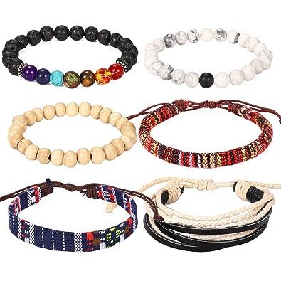 BLINKINGSTARE Friendship Couple Leather Boho Bracelet-6 Pieces Lava Stone  Wood Beads Hemp String Ethnic 7fd97d9ccf