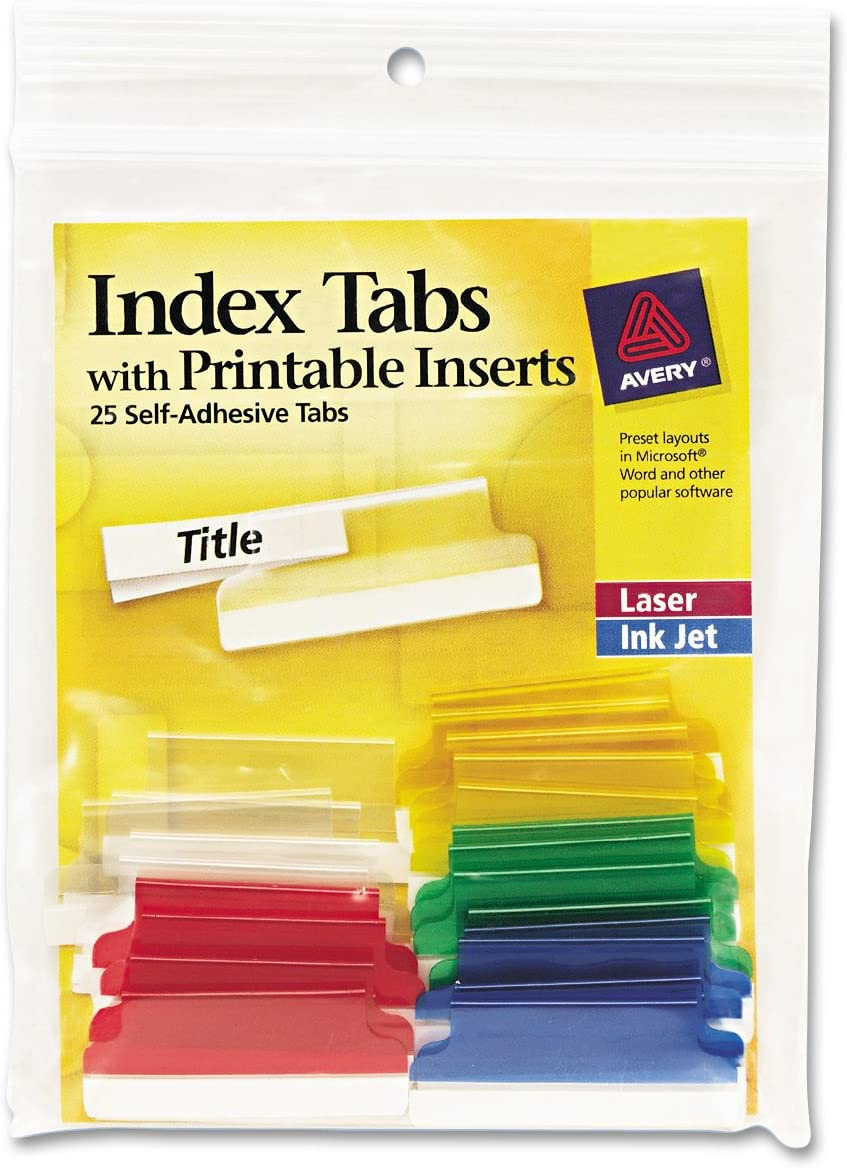 Avery 16228 Insertable Index Tabs with Printable Inserts, 1 1/2, Assorted, White (Pack of 25) : Binder Index Dividers : Office Products