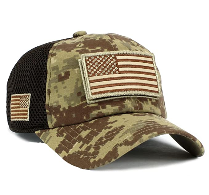 32d5a277ce3 Image Unavailable. Image not available for. Color  USA Flag Hat Desert  Digital Detachable Patch Micro Mesh Cap