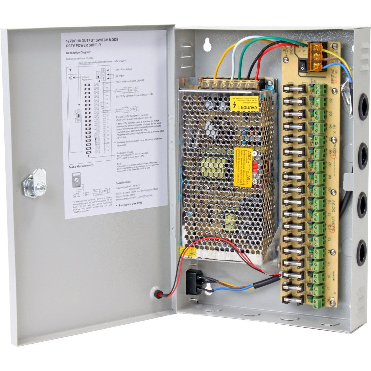 Amazon.com : Q-See QS1018 12 Volt 12 AMP Power Distribution Panel Connects  18 Cameras : Power Distribution Units : Camera & Photo