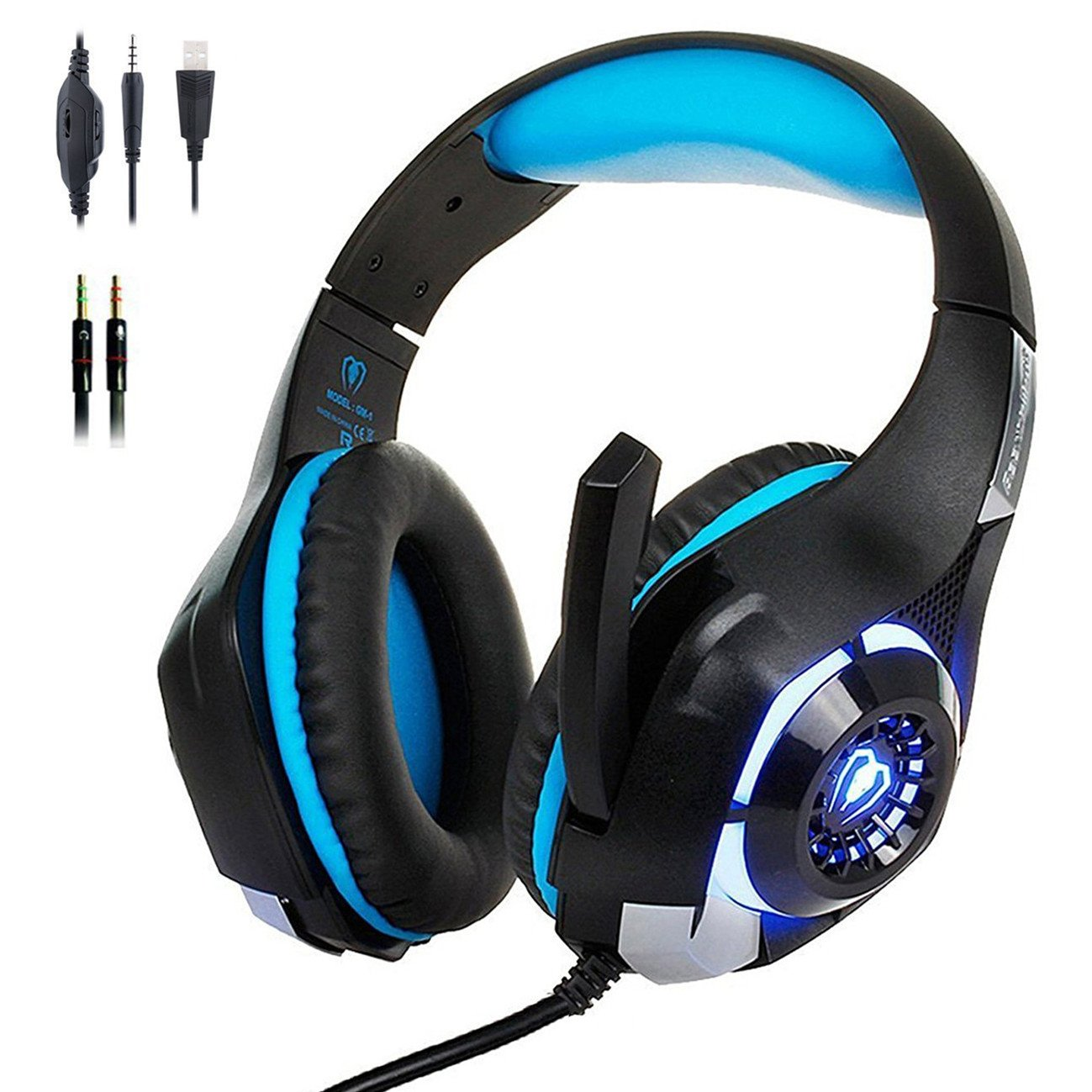 Wireless Gaming Headphone Bluetooth PC Laptop PS4 XBox One Headset LED Light 889328995744