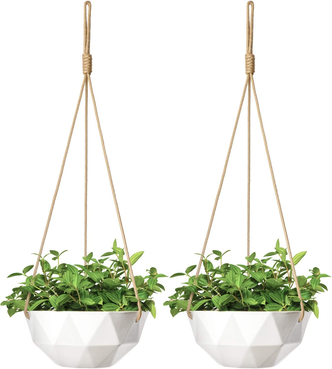 Mkono 2 Pack Ceramic Hanging Planter Modern Geometric Flower Plant Pot 9 Inch Porcelain Hanging Basket with Rope Hanger for Indoor Outdoor Herbs Ivy Crawling Plants, White