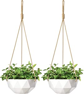 Mkono 2 Pack Ceramic Hanging Planter Indoor Outdoor Modern Geometric Flower Plant Pot 9 Inch Porcelain Hanging Basket with Polyester Rope Hanger for Herbs Ivy Crawling Plants, White
