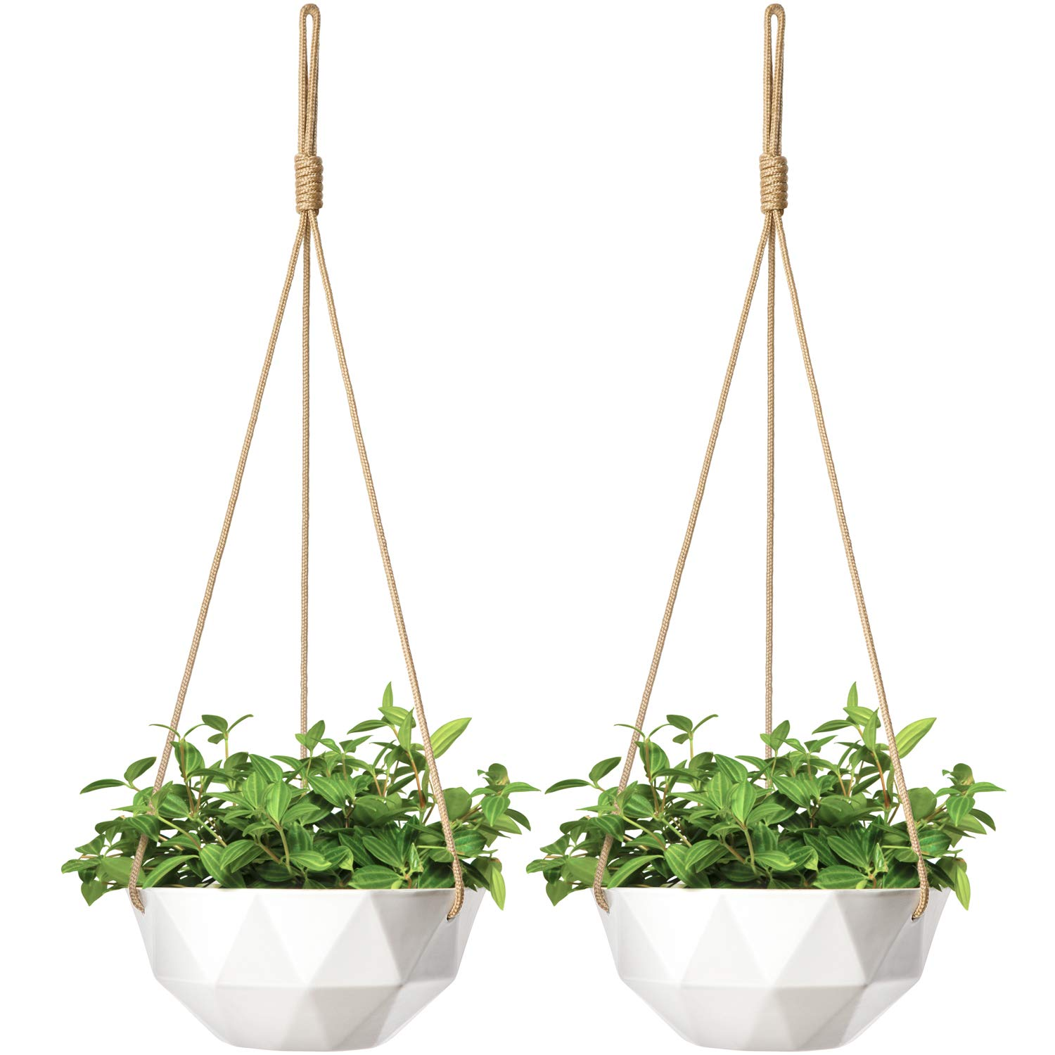 Mkono 2 Pack Ceramic Hanging Planter Modern Geometric Flower Plant Pot 9 Inch Porcelain Hanging Basket with Rope Hanger for Indoor Outdoor Herbs Ivy Crawling Plants, White by Mkono