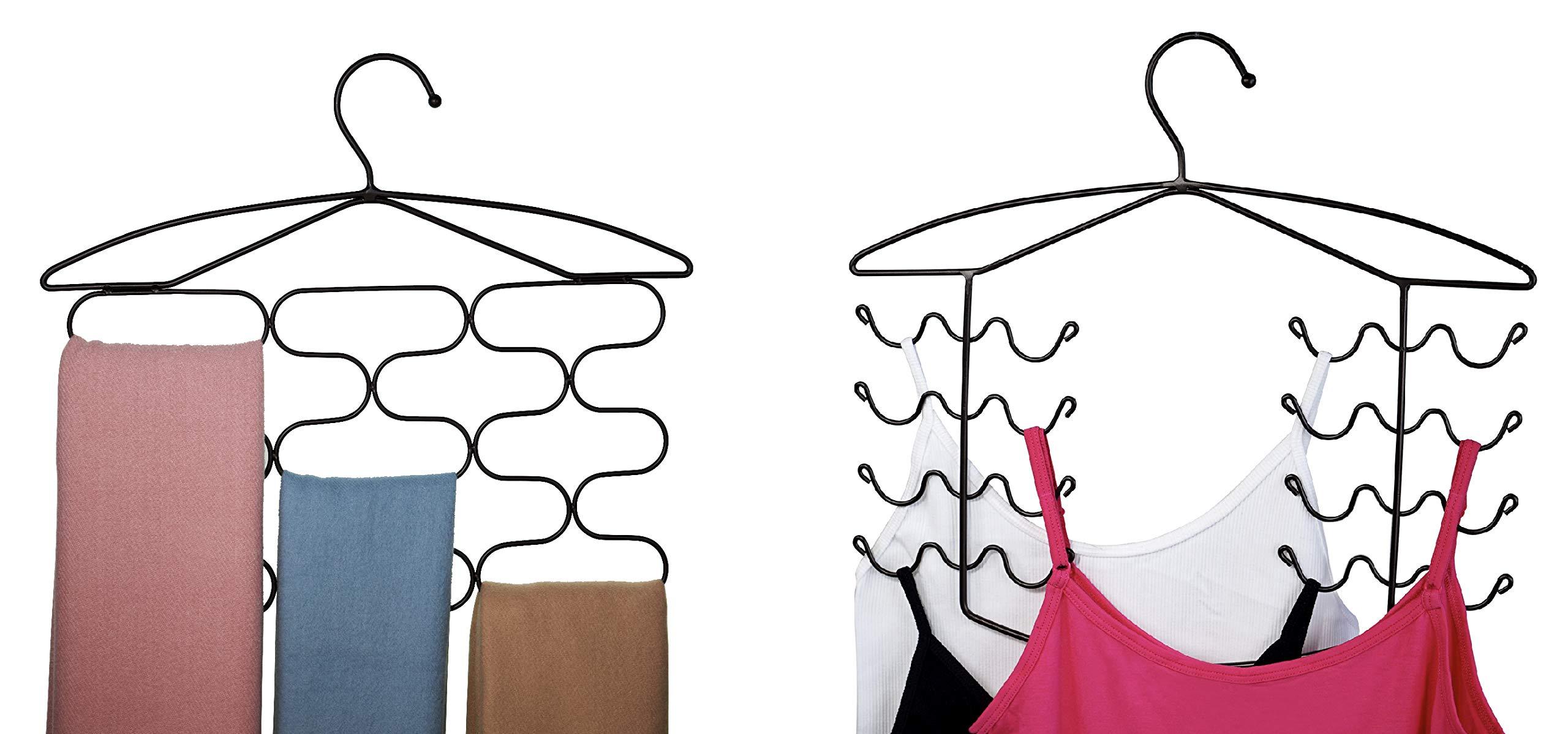 CAXXA Combo Pack Bra Camisole Dress Tank Top Hanger + 13 Sections Scarf Tie Belt Holder   Closet Bedroom Mudroom Organizer Storage Holder, Bronze by CAXXA