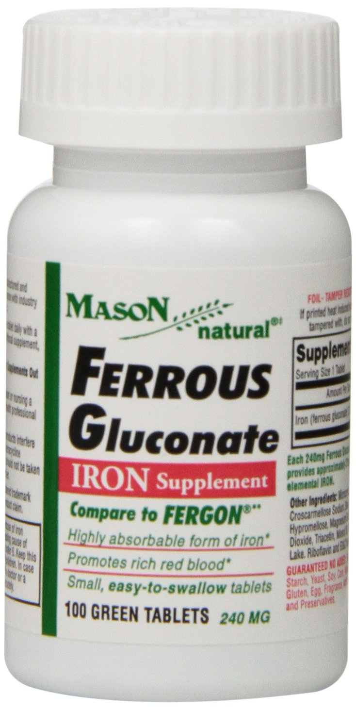 Mason Natural, Iron Ferrous Gluconate 240 Mg Tablets, 100 Count Bottle (Pack of 3), Dietary Supplement Supports Vascular and Red Blood Cell Health, May Help Prevent Fatigue from Anemia