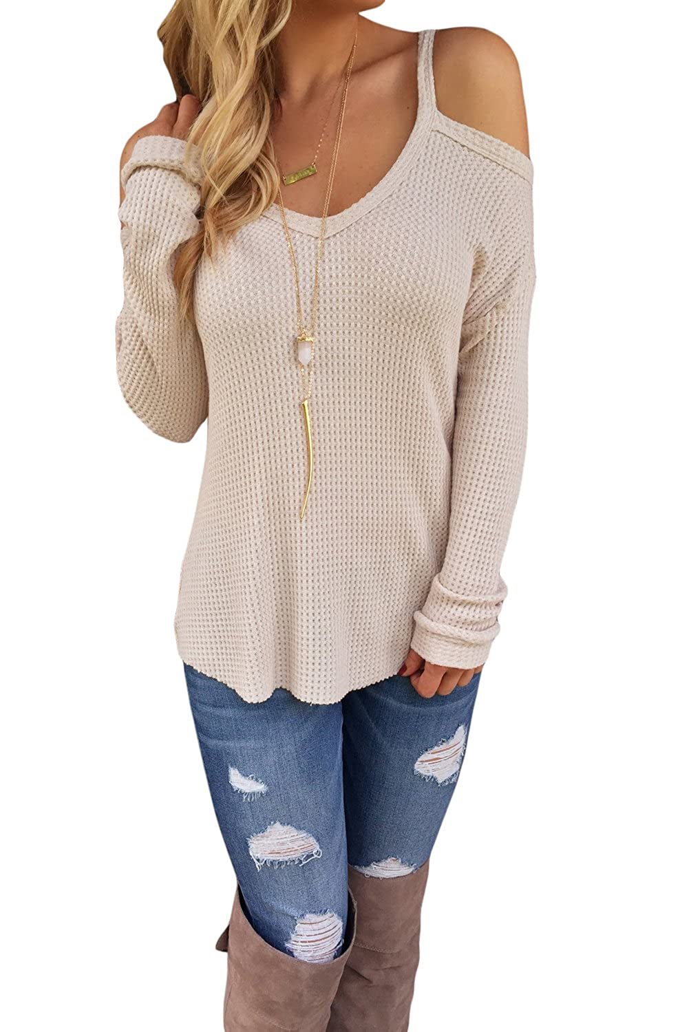 Ferbia Sweaters for Women Cold Shoulder Long Sleeve Cut out ...