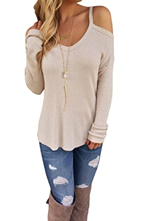 Leindr Women's Casual Long Sleeve Cold Shoulder High-low Knit ...