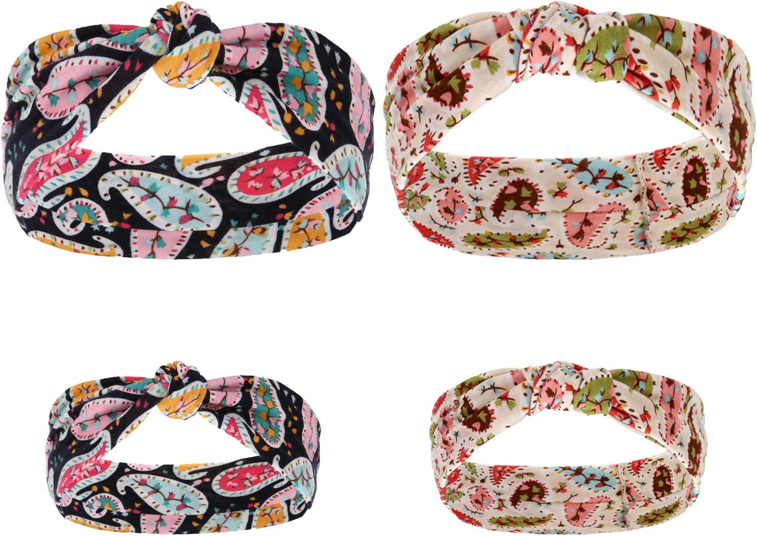 Sea Team 2 Sets Fashion Floral Parent-child Hair Band with Multicolour Bows Perfect for Baby and Mom