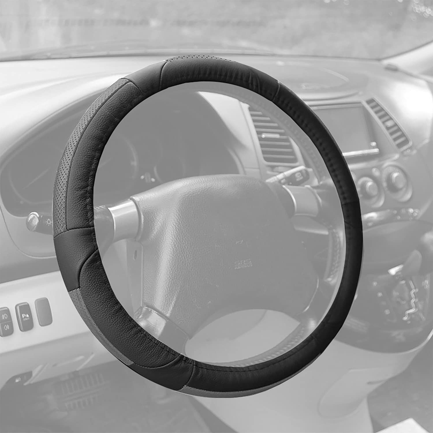 ON SALE: FH GROUP FH-FH2002 Premium Genuine Full Grain Leather Steering Wheel Cover Solid Gray FBA_FH2002SOLIDGRAY