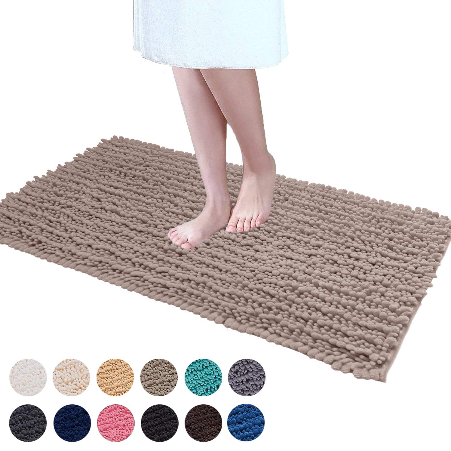 DEARTOWN Non-Slip Thick Microfiber Bathroom Rugs, Machine-Washable Bath Mats with Water Absorbent (27.5x47 Inches, Style 1: Beige)