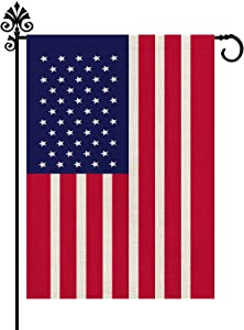 USA Garden Flag Vertical America Outdoor Decorations Burlap Double Sided Home Yard Decor 12.5 x 18 Inch