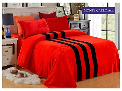 Monte Carlo U0026quot;Rubyu0026quot; Winter Flannel Red Bed Sheet