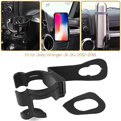 2 in 1 JK Drink Cup Phone Holder, Bolt-on Stand Bracket Holder for 2012-2020 Jeep Wrangler JK Rubicon Sahara Sport 2/4 Doors: Automotive