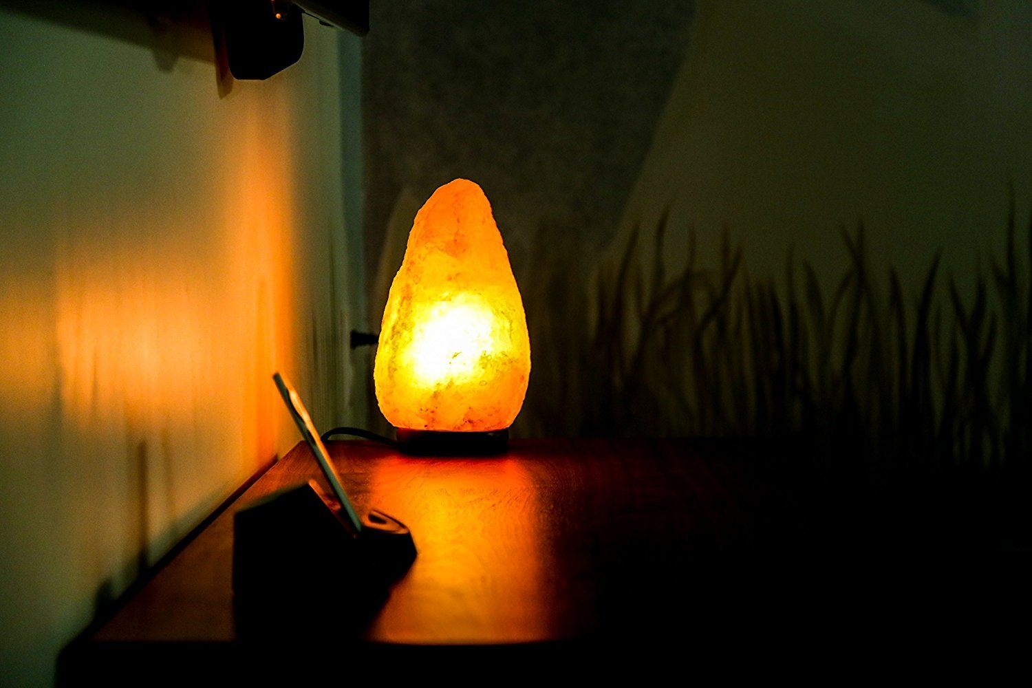 8 to 9 Inch Himalayan Salt Lamp Hand Carved, Natural Wood Base with Dimmer Control, 6-9 lb. Mined from Himalayan Mountain Range, Beautiful Amber Color, 100% Authentic Himalayan Salt Lamp by IKON (Image #6)