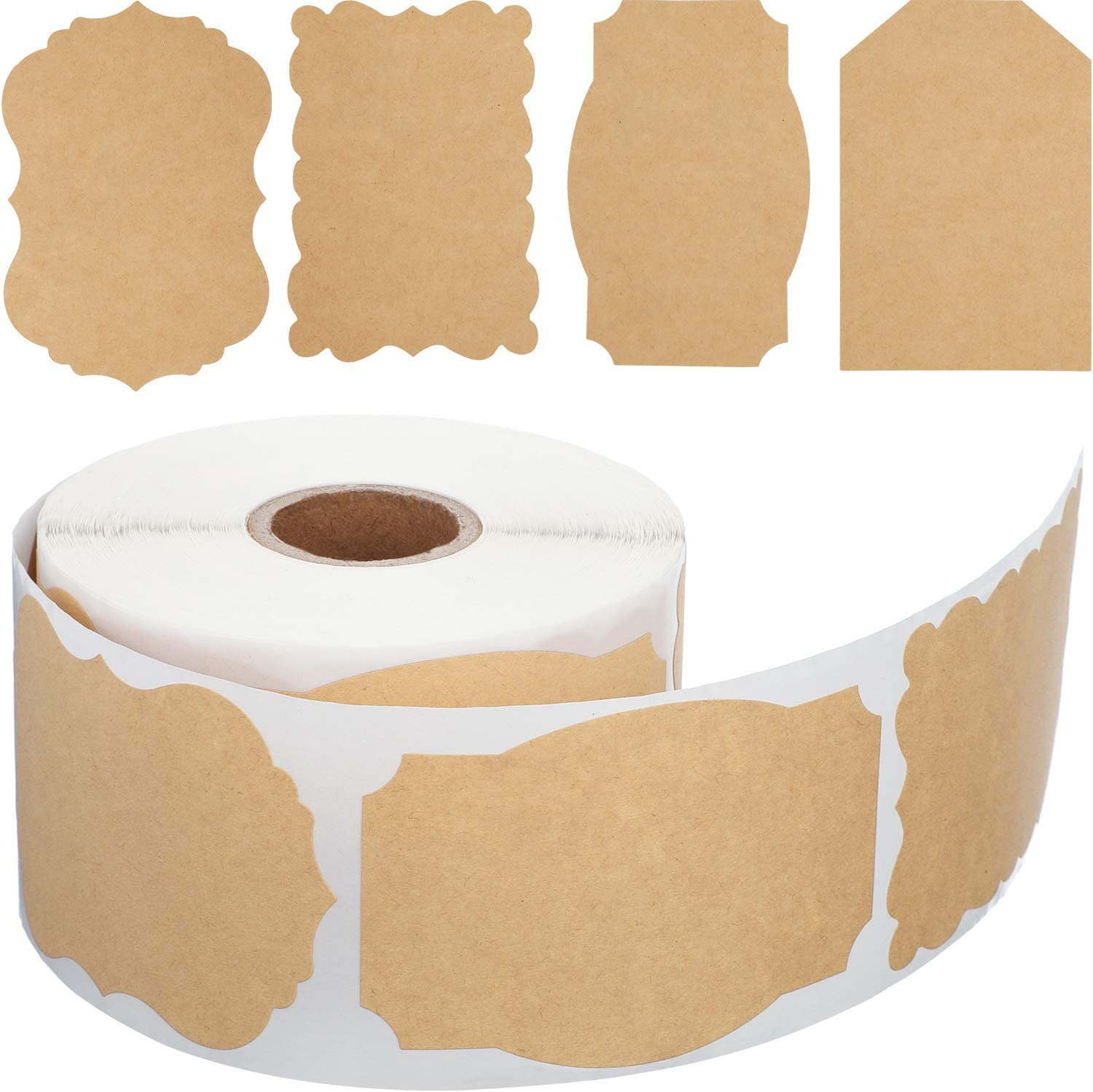 400 Pieces Kraft Gift Paper Tags 2 x 3 Inches Blank Brown Present Labels Stickers Name Tags for Holiday Glass Bottle Gift Supplies