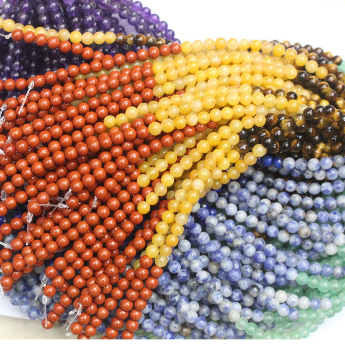 7 Gemstone Beads, 6mm Natural Gemstone Beads 6mm Lapis Lazuli Amethyst Yellow Jade Red Jasper Round Semi Precious Beads for DIY Jewerly Making Beads