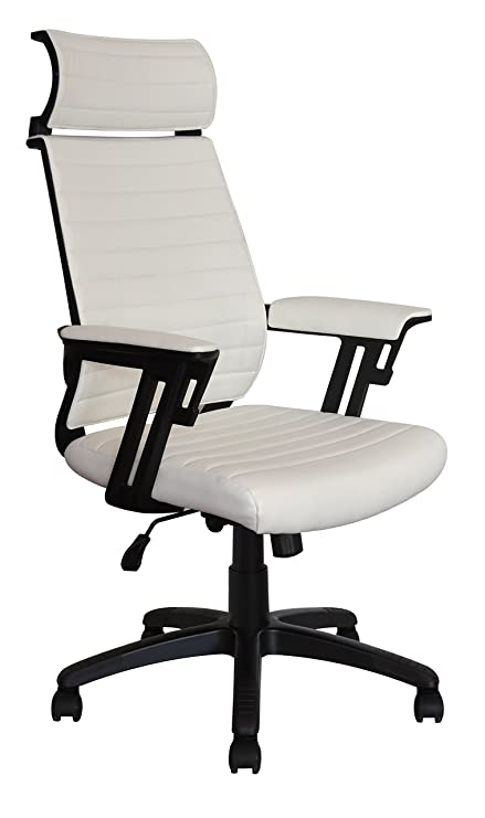 Executive Contemporary Office Chair   Ribbed Vegan Leather Seat   Ergonomic  Back Support   Dual Heavy