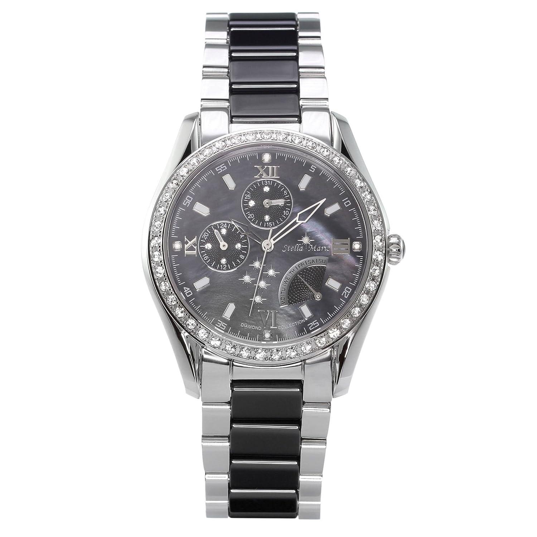 Stella Maris Damen-Armbanduhr Analog Quarz Premium Keramik Diamanten - STM15M2