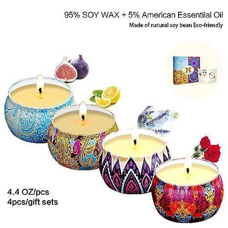 Hedynshine Juego de velas aromáticas de regalo, 4 unidades ...