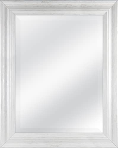 MCS 18 by 24 inch Scoop Mirror, 23.5 by 29.5 inch Outside Dimension, White Wash Finish 20547, 23.5 x 29.5 Inch