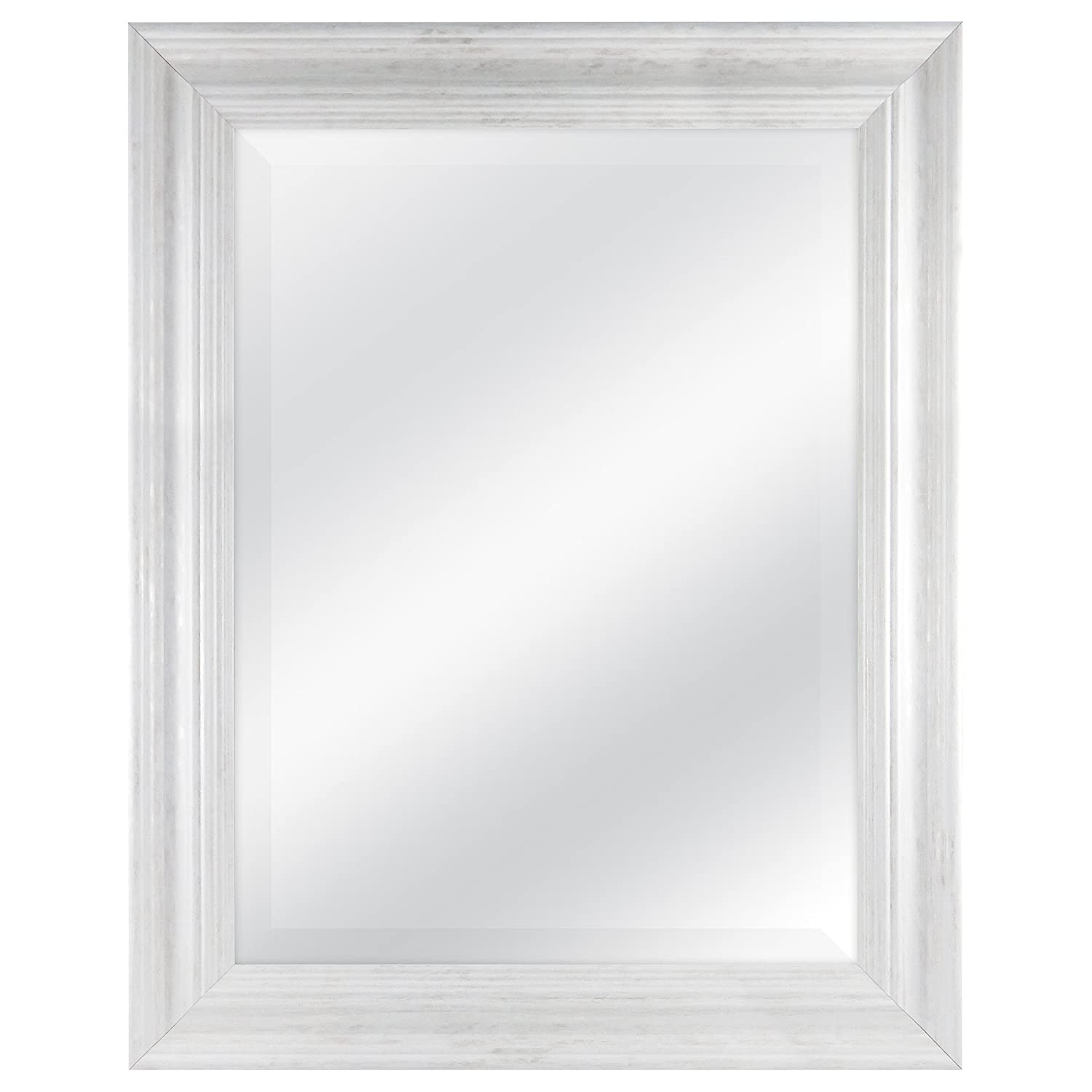 MCS 18x24 Scoop Mirror 23.5x29.5 Outside Dimension with White Wash Finish MCS Industries 20547