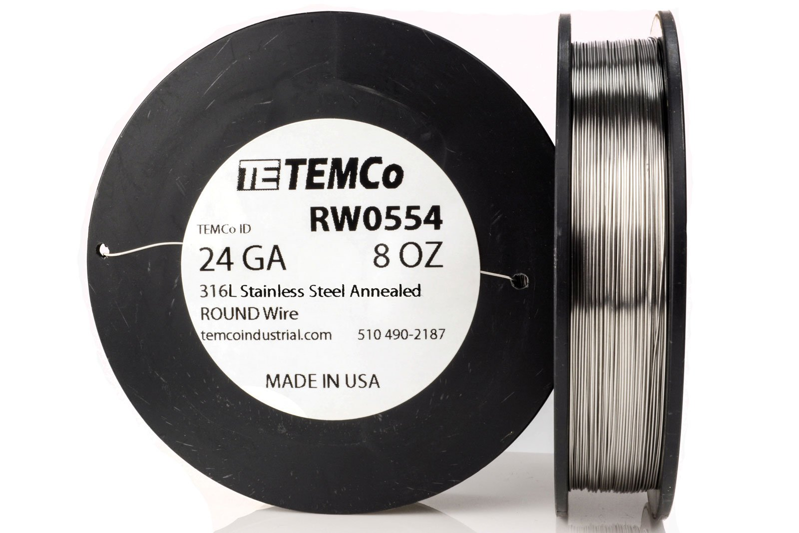 TEMCo Stainless Steel Wire SS 316L - 24 Gauge 8 oz (459 ft) Non-Resistance AWG ga