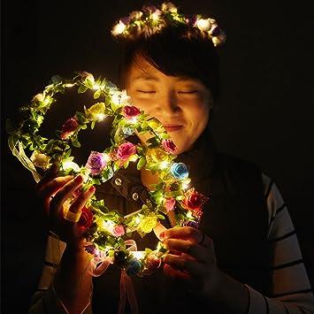 Cosoon 4 Pc Led Blumen Kranz Stirnband Kronen Blumengirlande Boho