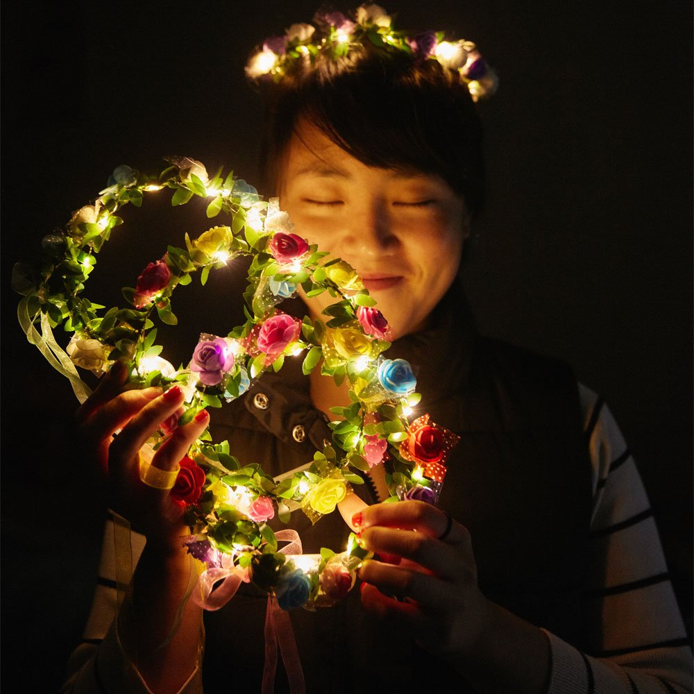 COSOON 4 Pcs LED Flower Wreath Headband - Crown Floral Garland Boho for  Festival Wedding 4bcda7047ed