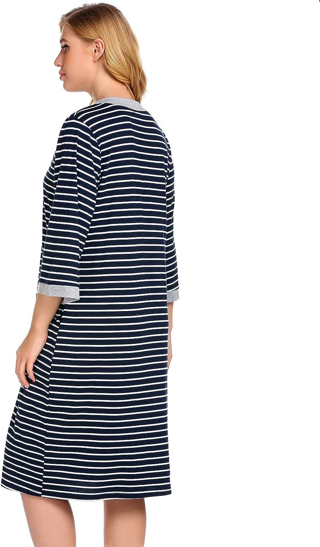 Ekouaer Women Robes Zipper Front Knee Length House Coat with Pockets Striped Loungewear