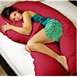 Original Coozly Premium Pregnancy U Lyte Pillow with fine Coozly HQ Fibres & Maroon Cover U1 (Wgt-4.5 Kg)