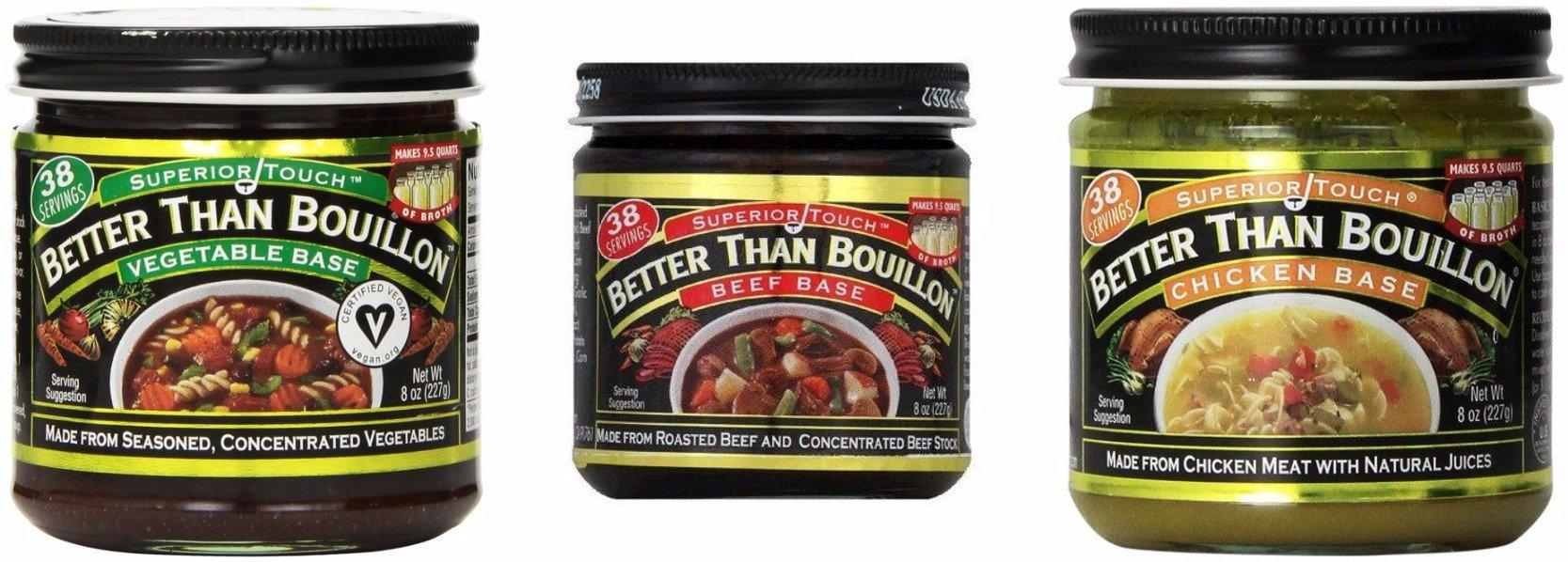 Bundle of 3: Better Than Bouillon Seasoned Vegetable Base, Roasted Beef Base and Roasted Chicken Base 38 Servings Each Flavor