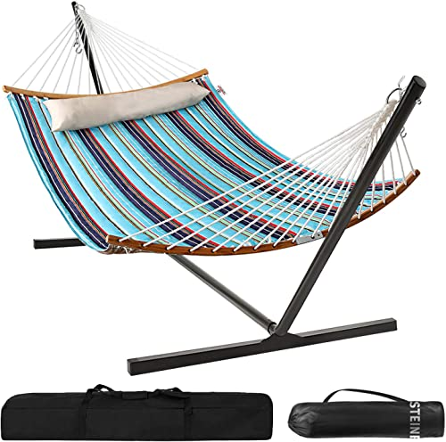 Bathonly Double Hammocks with 12ft Hammock Stand,Durable Quilted Fabric Hammock w Foldable Bar Detachable Pillow,450 Pounds Capacity,Stable Detachable Metal Stand