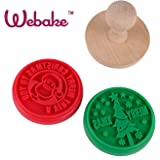 Webake 2pcs Christmas Cookie Stamps, Cookie Mold, Santa and Christmas Tree, Red and Green