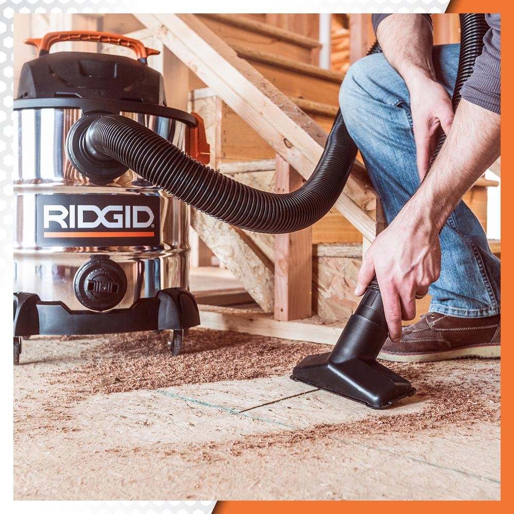 RIDGID 10 Gal. 6.0 Peak HP Stainless Wet Dry Vacuum WD1060 Vac + Toucan City Tile and Grout Brush by Ridgid + Toucan City (Image #6)