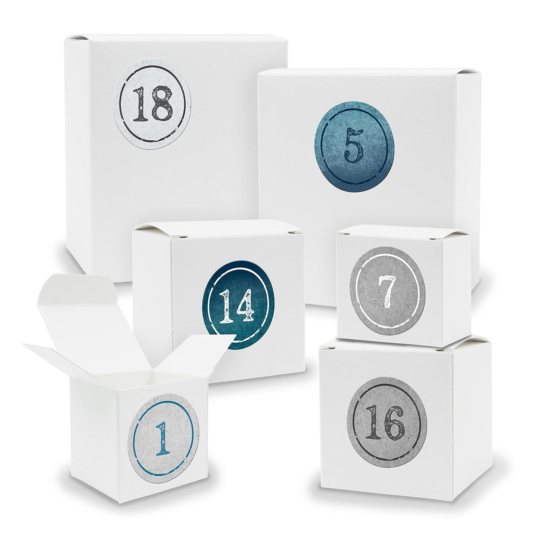 Itenga, set calendario dell'Avvento da riempire, 24scatole a forma di quadrato e cubo, colore bianco e adesivi con numeri Motiv Z01 Blautöne Stempeldesign