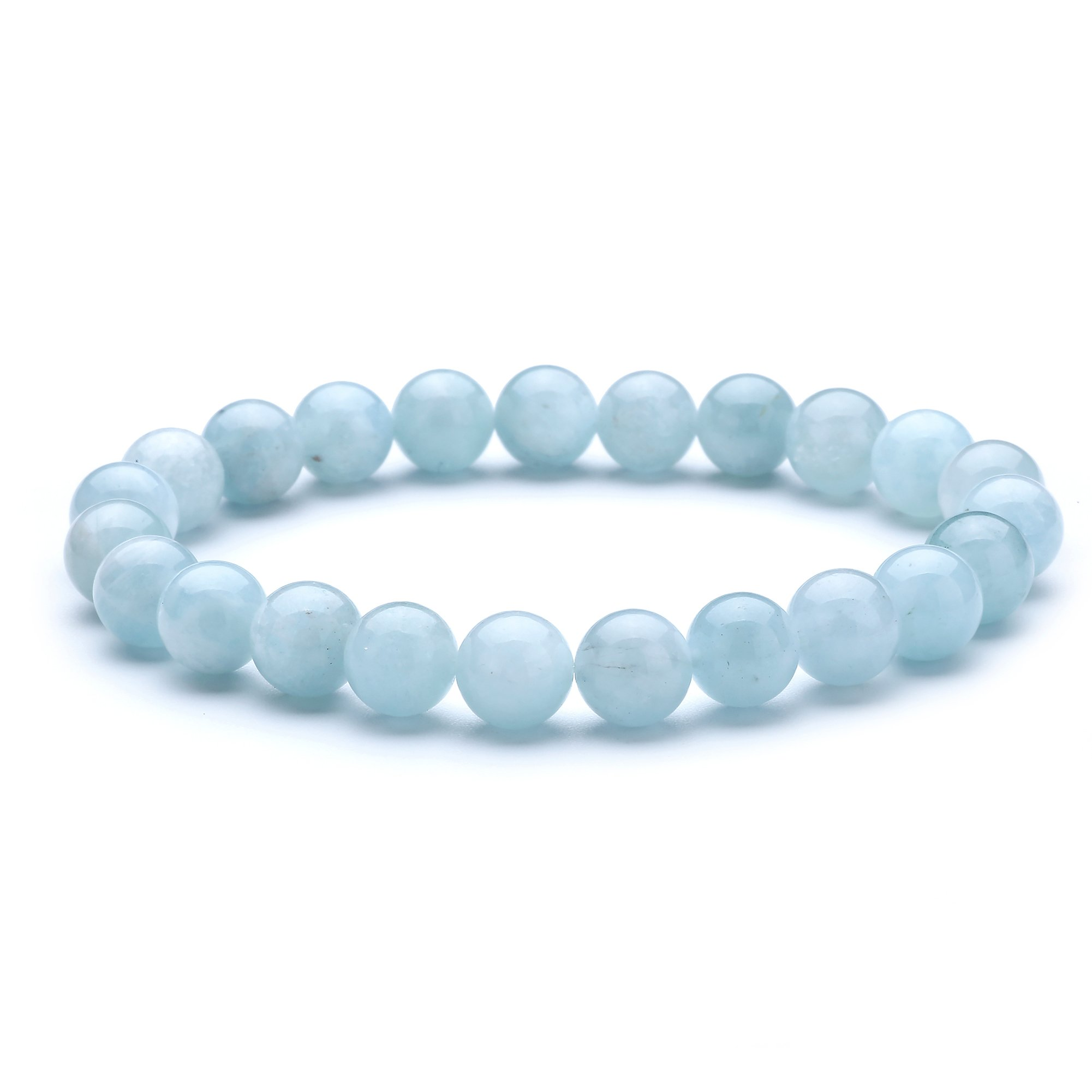 tom+alice 8MM Round Bead Precious Gemstone Beaded Stretch Bracelets Natural Stone Healing Pover 7.1'' Strand Unisex