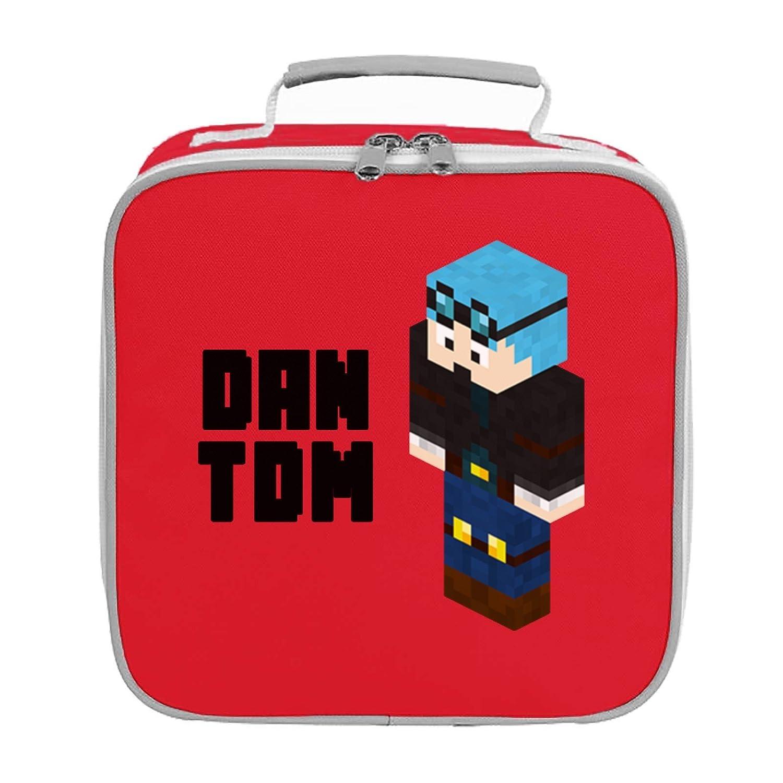 Dantdm Dan The Diamond Minecart Blue Hair Player Skin 3D Standing Left Pose And Black Text Lunch Bag APPARELPRINTING00000635921
