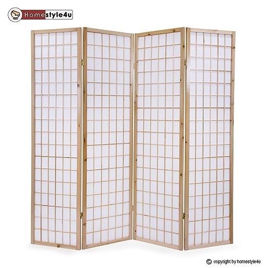 Homestyle4u 75 Paravent Raumteiler 4 Teilig Holz Natur Reispapier
